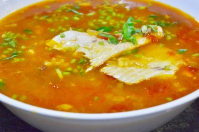 Tomato SaffronRice  Fish Soup